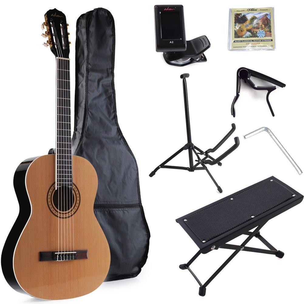 adm full size nylon string classical guitar with gig bag e tuner etc student beginner kit. Black Bedroom Furniture Sets. Home Design Ideas